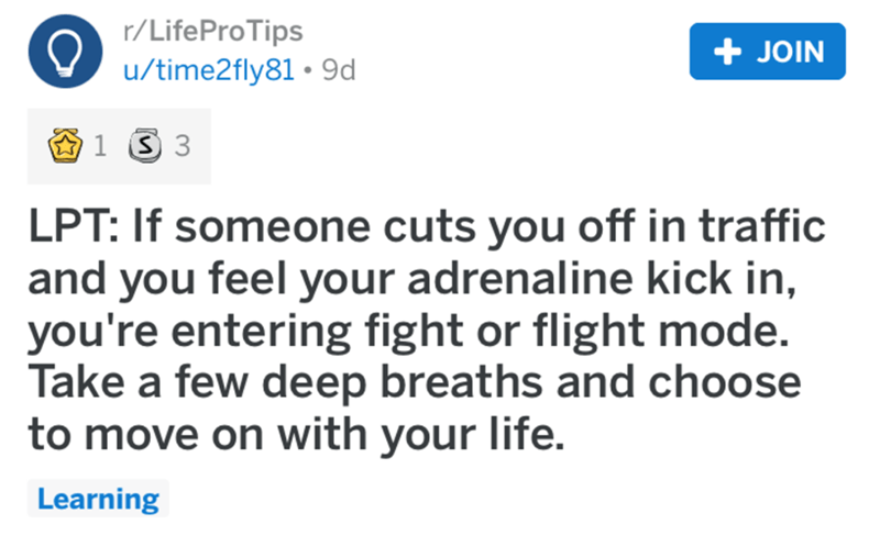 Text - r/LifeProTips + JOIN u/time2fly81 • 9d LPT: If someone cuts you off in traffic and you feel your adrenaline kick in, you're entering fight or flight mode. Take a few deep breaths and choose to move on with your life. Learning
