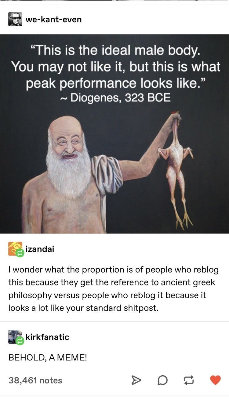 """Text - we-kant-even """"This is the ideal male body. You may not like it, but this is what peak performance looks like."""" - Diogenes, 323 BCE izandai I wonder what the proportion is of people who reblog this because they get the reference to ancient greek philosophy versus people who reblog it because it looks a lot like your standard shitpost. kirkfanatic BEHOLD, A MEME! 38,461 notes"""