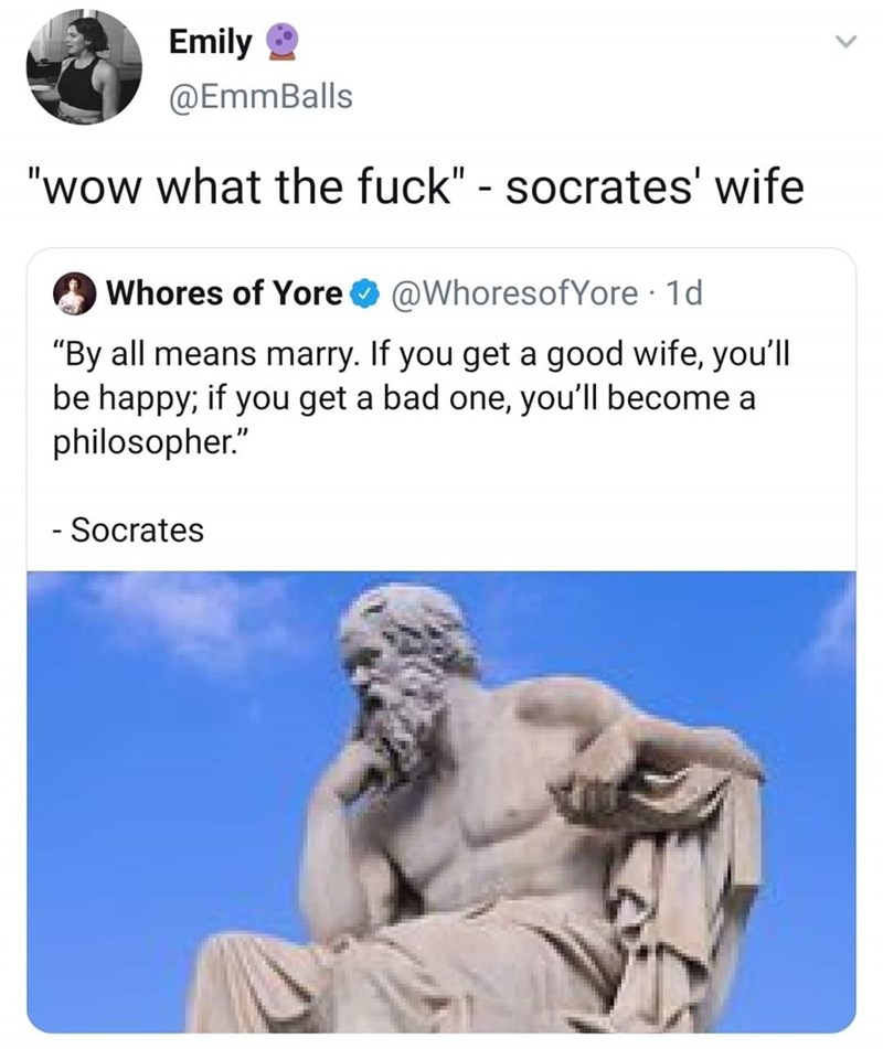 """Text - Emily 2 @EmmBalls """"wow what the fuck"""" - socrates' wife Whores of Yore O @WhoresofYore · 1d """"By all means marry. If you get a good wife, you'll be happy; if you get a bad one, you'll become a philosopher."""" - Socrates"""