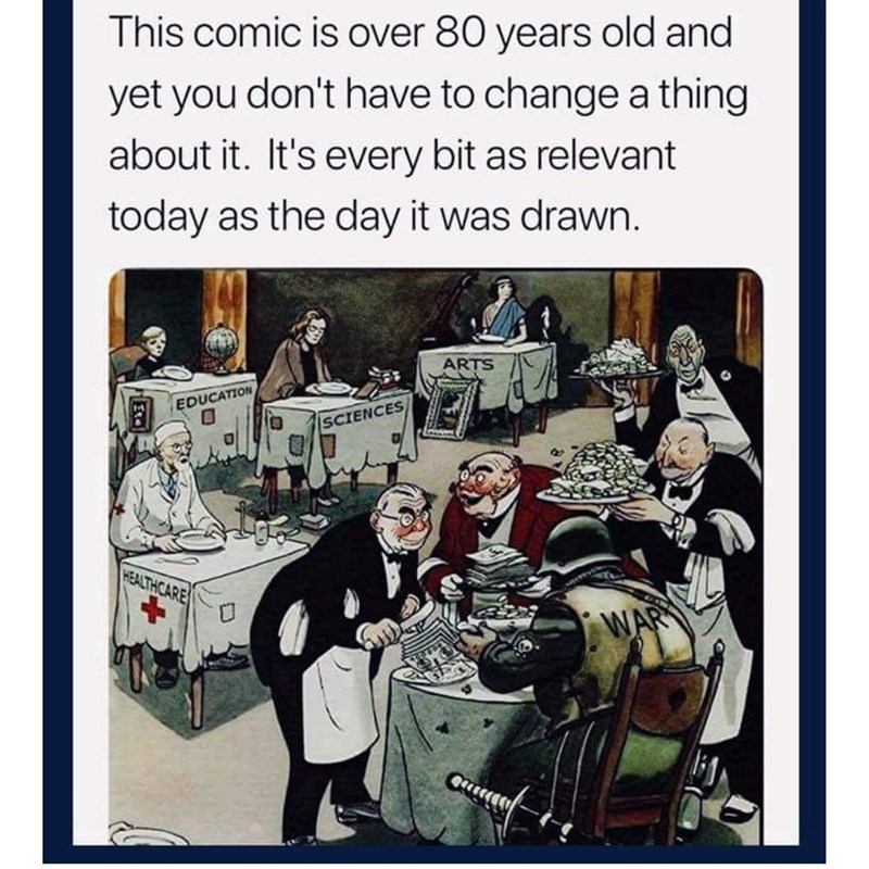 Cartoon - This comic is over 80 years old and yet you don't have to change a thing about it. It's every bit as relevant today as the day it was drawn. ARTS EDUCATION SCIENCES HEALTHCARE WAR