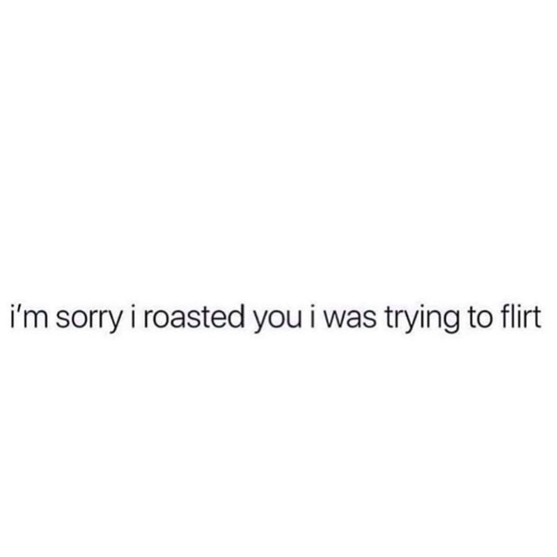 Text - i'm sorry i roasted you i was trying to flirt