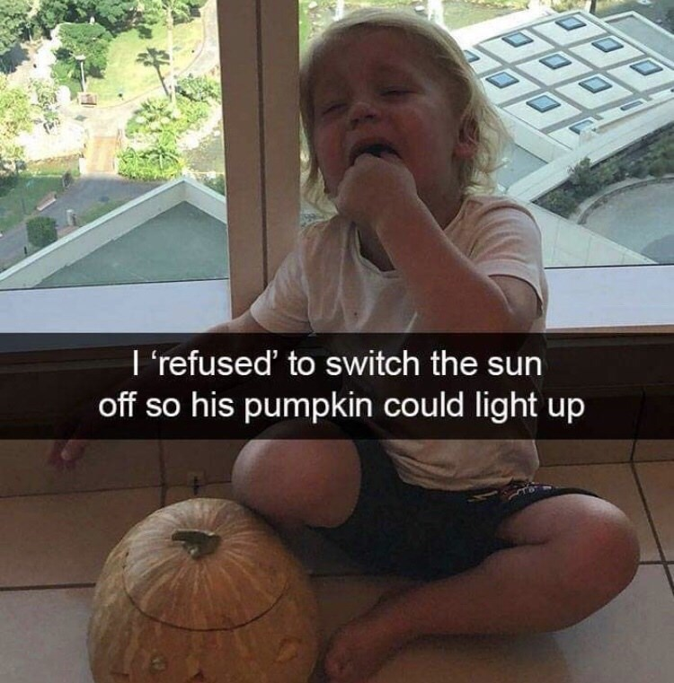 Photo caption - I 'refused' to switch the sun off so his pumpkin could light up