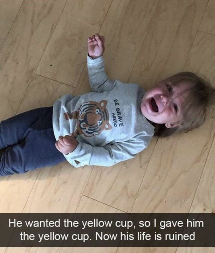 Facial expression - He wanted the yellow cup, so I gave him the yellow cup. Now his life is ruined BE BRAVE KEEDO