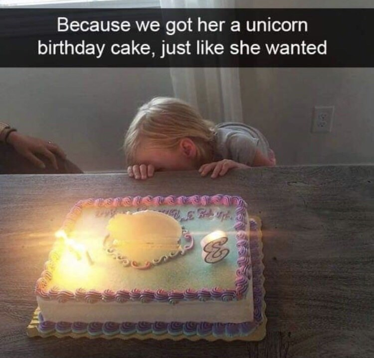 Text - Because we got her a unicorn birthday cake, just like she wanted