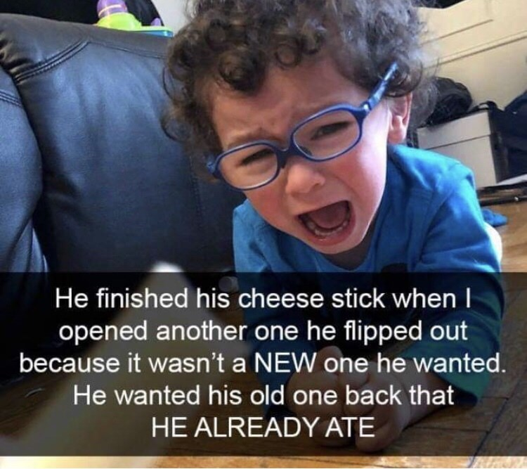 Cool - He finished his cheese stick when I opened another one he flipped out because it wasn't a NEW one he wanted. He wanted his old one back that HE ALREADY ATE