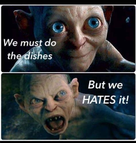 Photo caption - We must do the dishes But we HATES it!