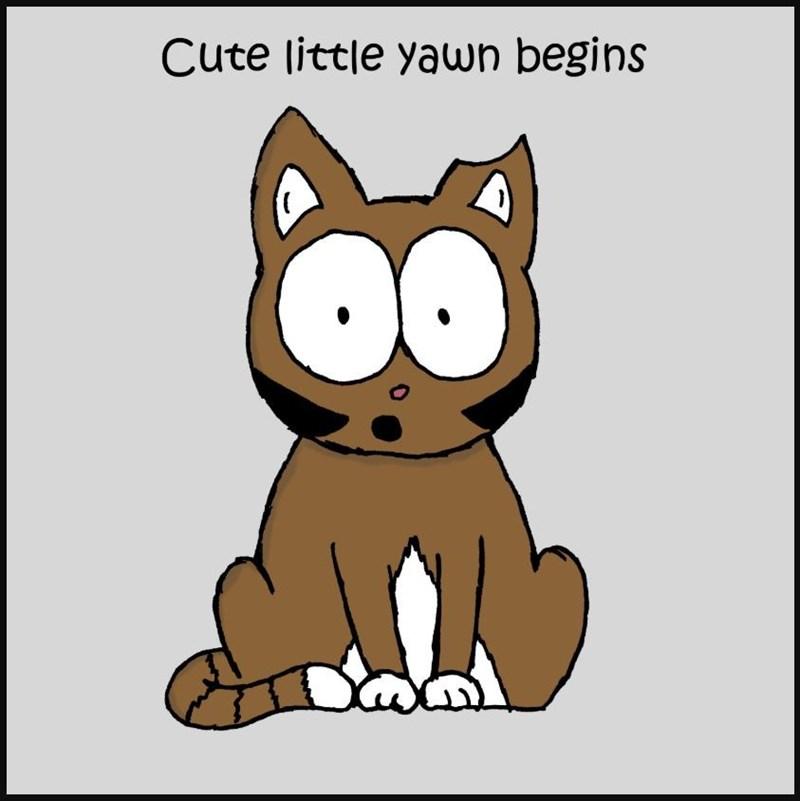 Cartoon - Cute little yawn begins