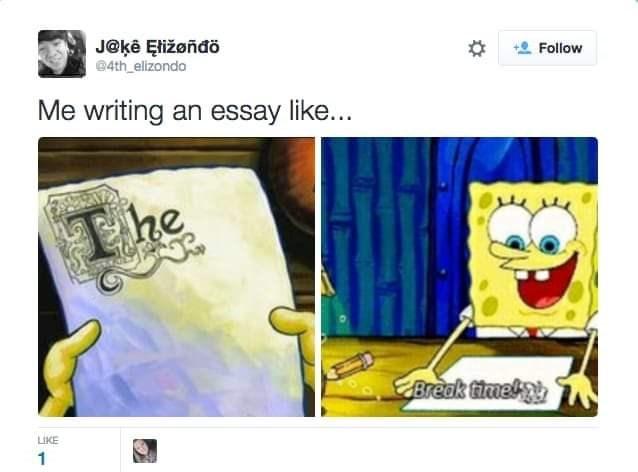 Cartoon - J@kê Eližoñđö 04th_elizondo Follow Me writing an essay like... he Break timek LIKE