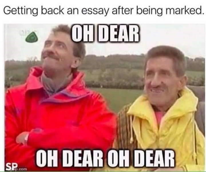 People - Getting back an essay after being marked. OH DEAR OH DEAR OH DEAR p.com