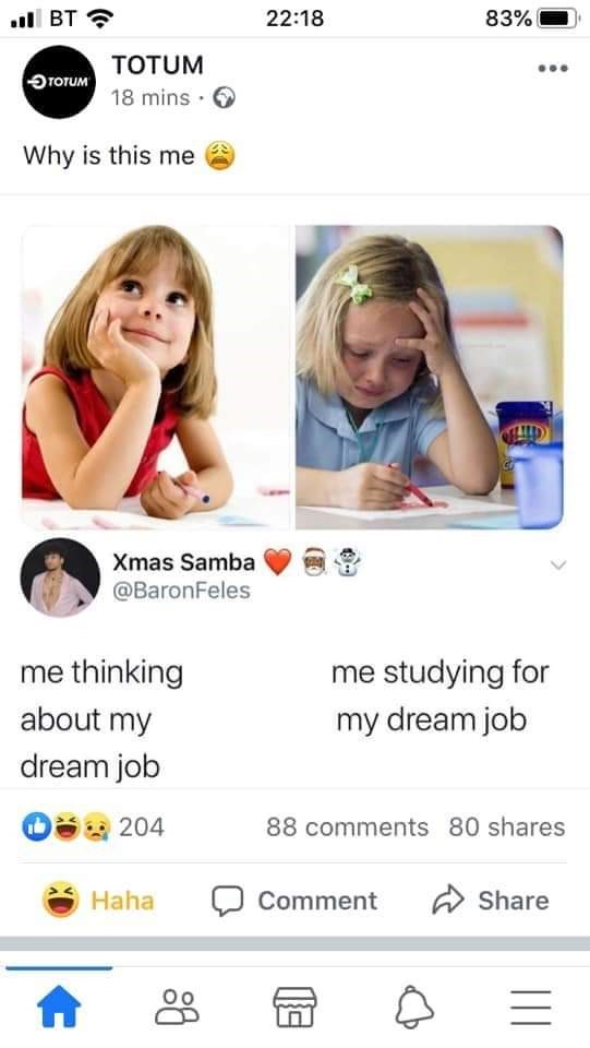 Product - ll BT ? 83% 22:18 TOTUM ĐTOTUM 18 mins · 6 Why is this me Xmas Samba @BaronFeles me thinking me studying for about my my dream job dream job 204 88 comments 80 shares A Share Haha Comment