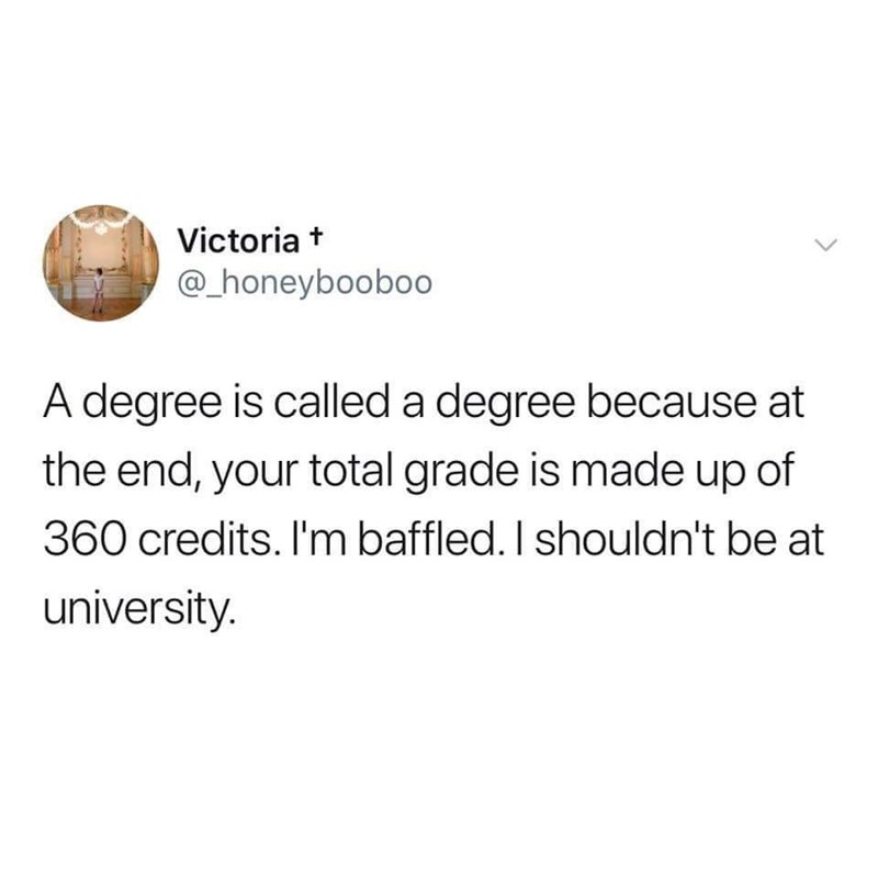 Text - Victoria + @_honeyboobo0 A degree is called a degree because at the end, your total grade is made up of 360 credits. I'm baffled. I shouldn't be at university.