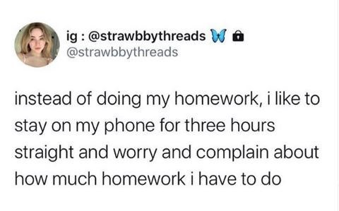 Text - ig : @strawbbythreads Wa @strawbbythreads instead of doing my homework, i like to stay on my phone for three hours straight and worry and complain about how much homework i have to do