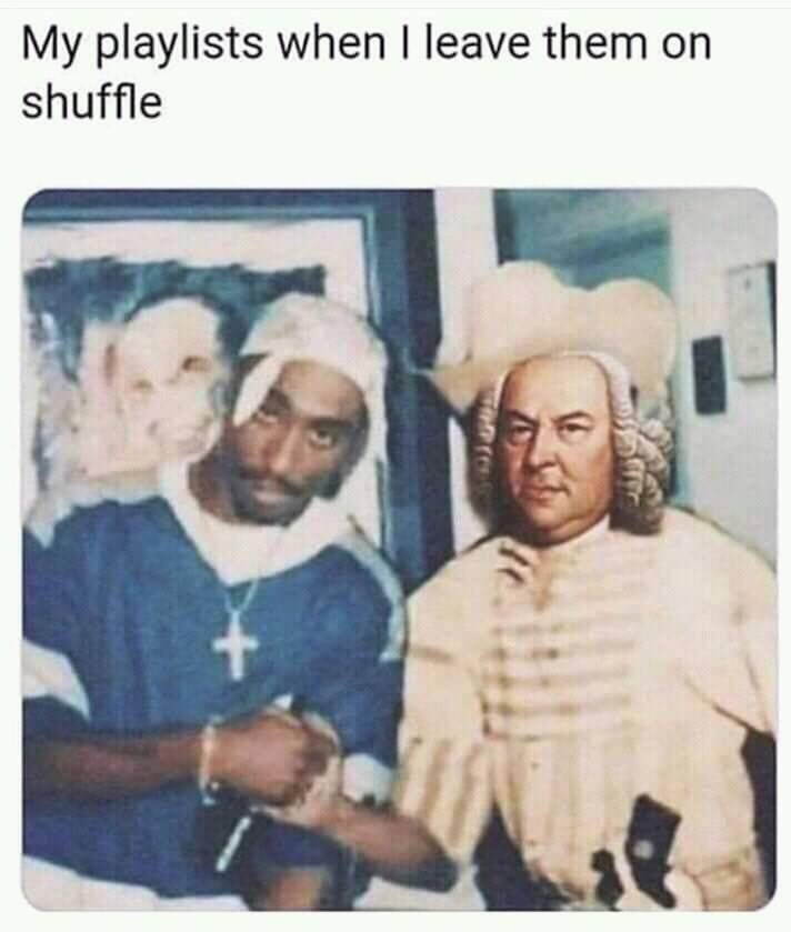 "Funny meme that reads, ""My playlists when I leave them on shuffle"" above a photoshopped image of Tupac shaking hands with a classical composer"