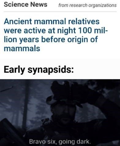 Text - Science News from research organizations Ancient mammal relatives were active at night 100 mil- lion years before origin of mammals Early synapsids: Bravo six, going dark.