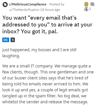 "Text - r/MaliciousCompliance Posted by u/TheNerdyMupton 18 hours ago You want ""every email that's addressed to you"" to arrive at your inbox? You got it, pal. OC S Just happened, my bosses and I are still laughing. We are a small IT company. We manage quite a few clients, though. This one gentleman and one of our busier client sites says that he's tired of being told his emails never arrived to him. We look it up and yes, a couple of legit emails got tangled up in the spam filter. No big deal, we"