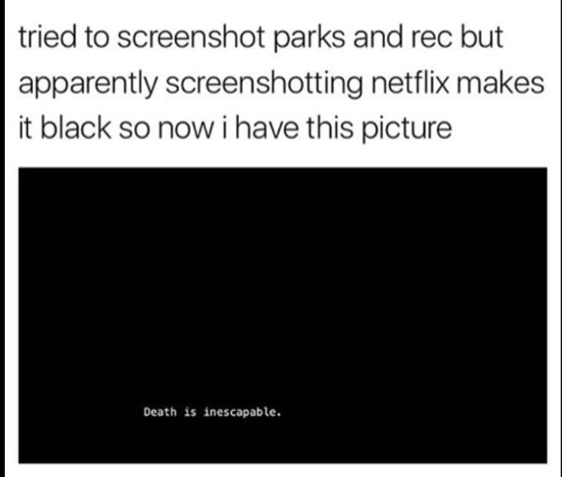 Text - tried to screenshot parks and rec but apparently screenshotting netflix makes it black so nowi have this picture Death is inescapable.