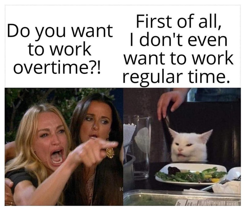 Face - First of all, I don't even want to work regular time. Do you want to work overtime?! H.
