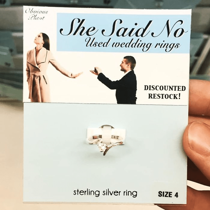 Text - Obvious Plant She Said No Used wedding rings DISCOUNTED RESTOCK! sterling silver ring SIZE 4