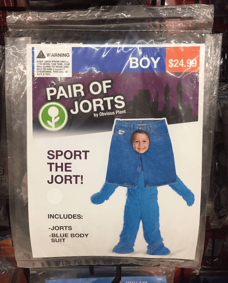 Product - ! WARNING BOY $24.99 KEEP AWAY FROM SMALL CHILDREN. THE THIN FILM MAY CLING TO NOSE AND MOLTH AND FREVENT BREATHING. THIS BAG IS NOT A TOY. PAIR OF JORTS by Obvious Plant SPORT THE JORT! Res INCLUDES: -JORTS -BLUE BODY SUIT CMALL 4-6Y