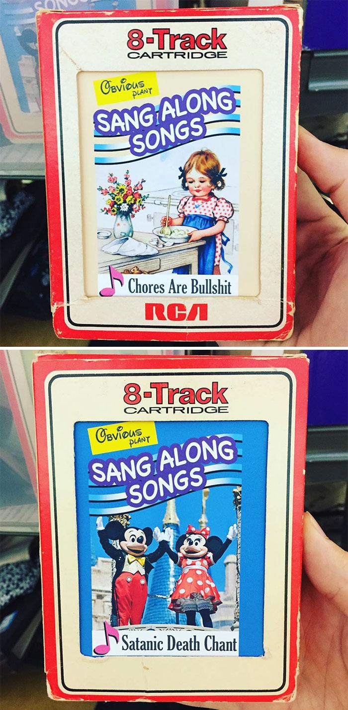 Animated cartoon - 8-Track CARTRIDGE Cavious SANG ALONG SONGS PLANT Chores Are Bullshit 8-Track CARTR IDGE Oevious PLANY SANG ALONG SONGS Satanic Death Chant