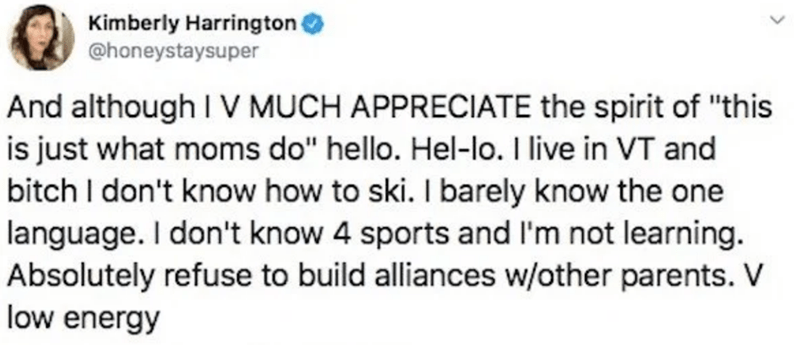 "Text - Kimberly Harrington @honeystaysuper And although IV MUCH APPRECIATE the spirit of ""this is just what moms do"" hello. Hel-lo. I live in VT and bitch I don't know how to ski. I barely know the one language. I don't know 4 sports and l'm not learning. Absolutely refuse to build alliances w/other parents. V low energy"