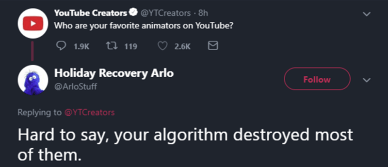 Text - YouTube Creators @YTCreators· 8h Who are your favorite animators on YouTube? ♡ 1.9K t7 119 2.6K Holiday Recovery Arlo Follow @ArloStuff Replying to @YTCreators Hard to say, your algorithm destroyed most of them.