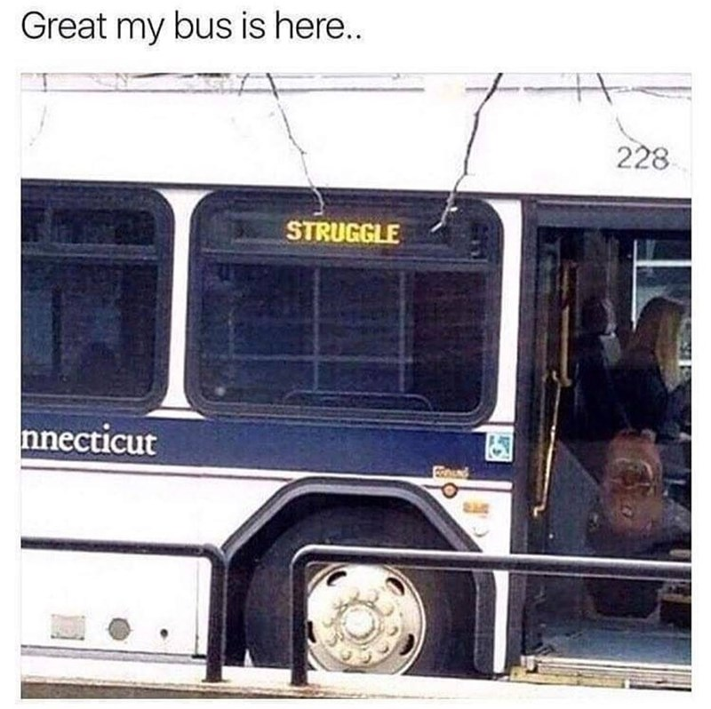 Transport - Great my bus is here.. 228 STRUGGLE nnecticut