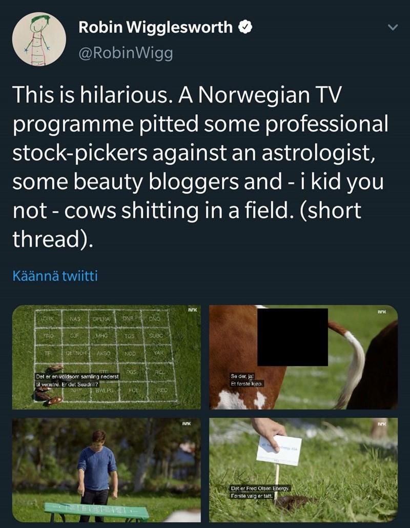 Text - Robin Wigglesworth O @RobinWigg This is hilarious. A Norwegian TV programme pitted some professional stock-pickers against an astrologist, some beauty bloggers and - i kid you not - cows shitting in a field. (short thread). Käännä twiitti DNB DNO ORK NAS COPERA GJF FRO SUBC MHG TGS DEINOR AKSO TEL YAR NOD PGS Se der, ja! Et forste kjøp. Det er en voldsom samling nederst til venstre. Er det Seadrill? BWLPG FOE REC Det er Fred Olsen Energy. Første valg er tatt.