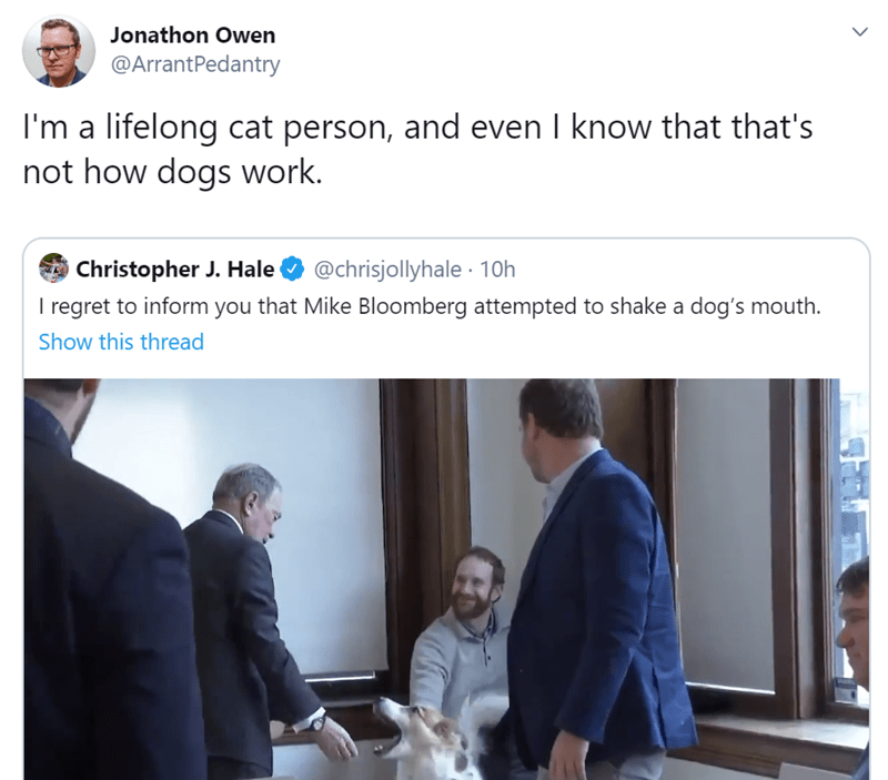 Text - Jonathon Owen @ArrantPedantry I'm a lifelong cat person, and even I know that that's not how dogs work. Christopher J. Hale I regret to inform you that Mike Bloomberg attempted to shake a dog's mouth. @chrisjollyhale · 10h Show this thread