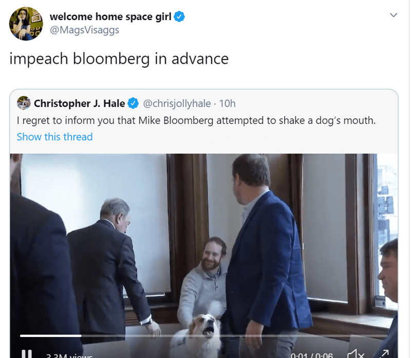 Product - welcome home space girl @MagsVisaggs OD impeach bloomberg in advance Christopher J. Hale I regret to inform you that Mike Bloomberg attempted to shake a dog's mouth. @chrisjollyhale · 10h Show this thread 0:01 L0:06 2 2M viows