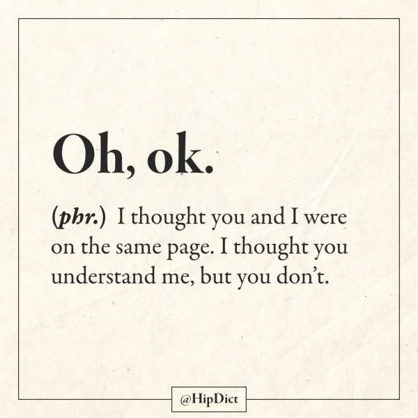 Text - Oh, ok. (phr.) I thought you and I were on the same page. I thought you understand me, but you don't. @HipDict