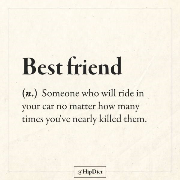Text - Best friend (n.) Someone who will ride in your car no matter how many times you've nearly killed them. @HipDict