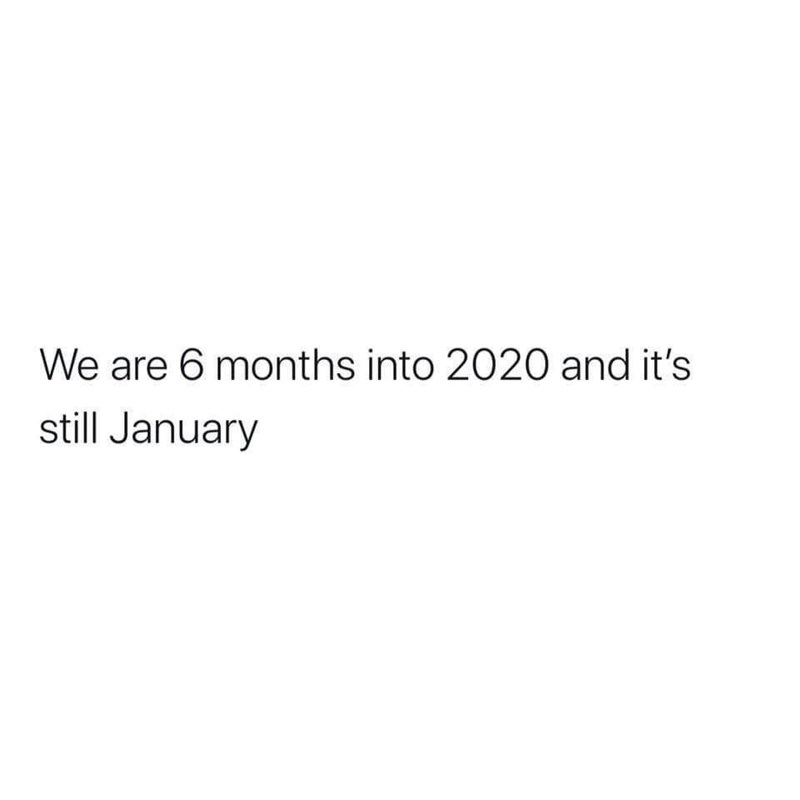 Text - We are 6 months into 2020 and it's still January