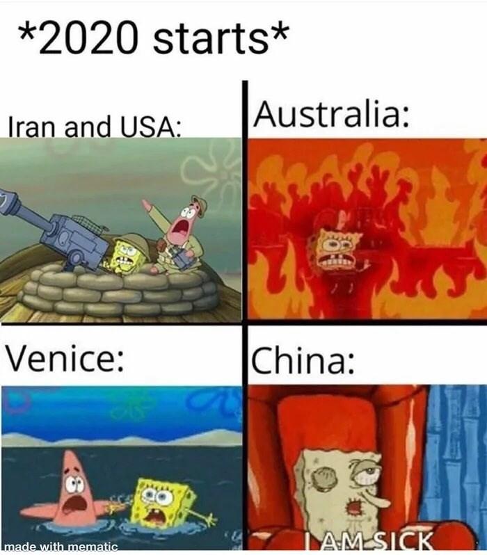 Cartoon - *2020 starts* Australia: Iran and USA: China: Venice: AMSICK made with mematic