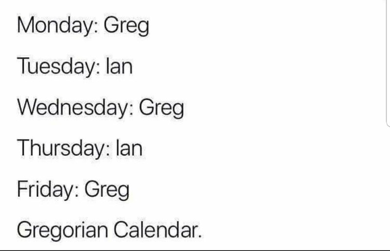 Text - Text - Monday: Greg Tuesday: lan Wednesday: Greg Thursday: lan Friday: Greg Gregorian Calendar.