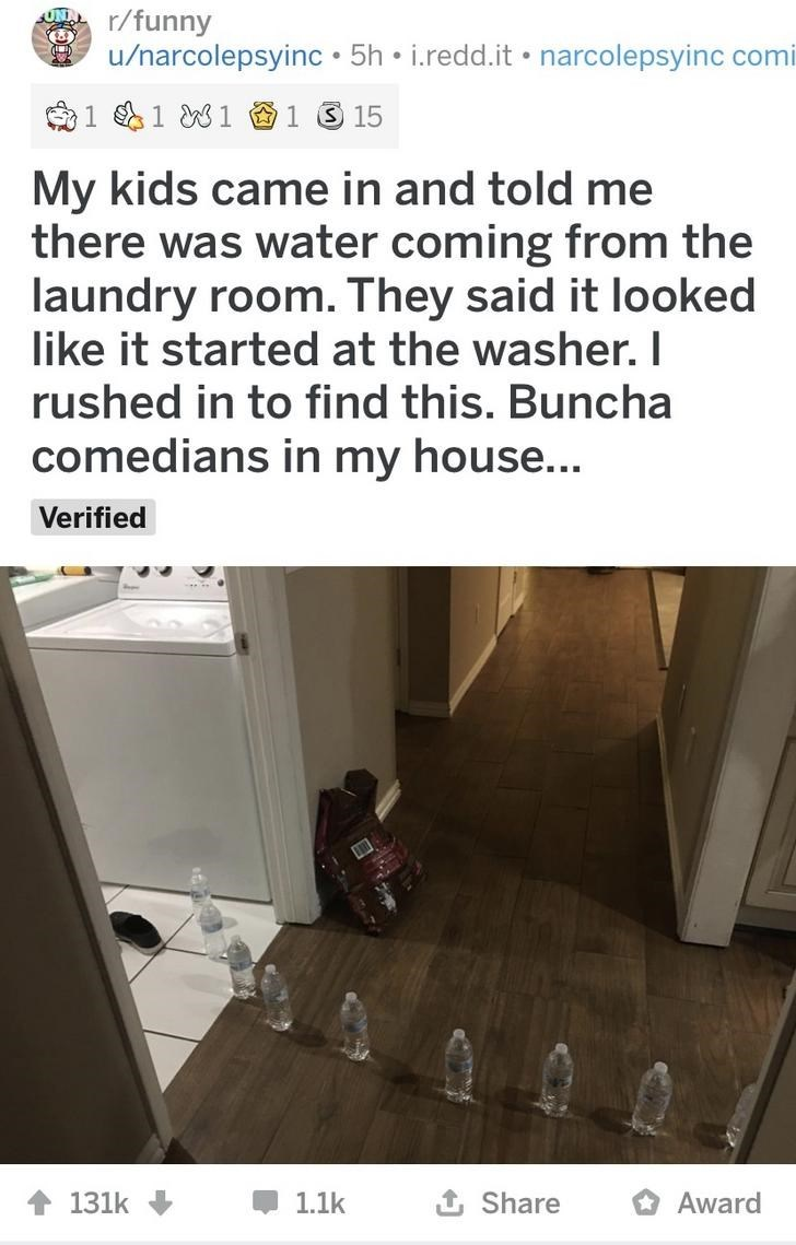 Text - r/funny u/narcolepsyinc • 5h • i.redd.it • narcolepsyinc comi 命1181 1315 My kids came in and told me there was water coming from the laundry room. They said it looked like it started at the washer. I rushed in to find this. Buncha comedians in my house... Verified 1 Share Award 131k 1.1k