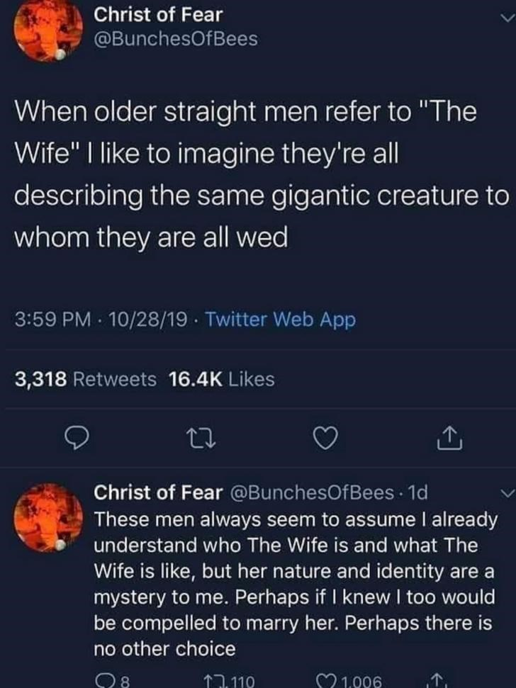"Text - Christ of Fear @BunchesOfBees When older straight men refer to ""The Wife"" I like to imagine they're all describing the same gigantic creature to whom they are all wed 3:59 PM 10/28/19 · Twitter Web App 3,318 Retweets 16.4K Likes Christ of Fear @BunchesOfBees · 1d These men always seem to assume I already understand who The Wife is and what The Wife is like, but her nature and identity are a mystery to me. Perhaps if I knew I too would be compelled to marry her. Perhaps there is no other c"