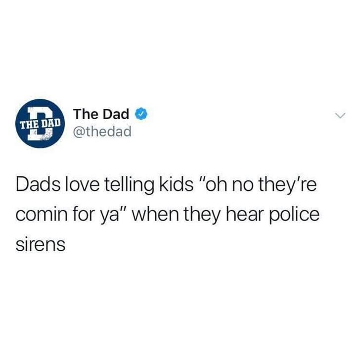 "Text - The Dad THE DAD @thedad Dads love telling kids ""oh no they're comin for ya"" when they hear police sirens"