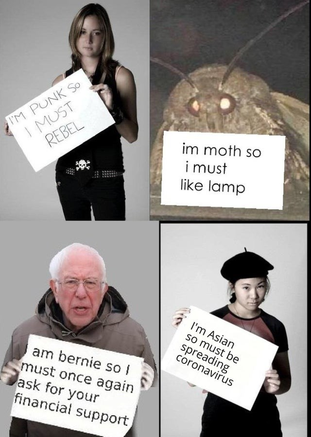 Photography - IM PUNK So I MUST im moth so i must like lamp REBEL I'm Asian so must be spreading coronavirus am bernie so I must once again ask for your financial support,