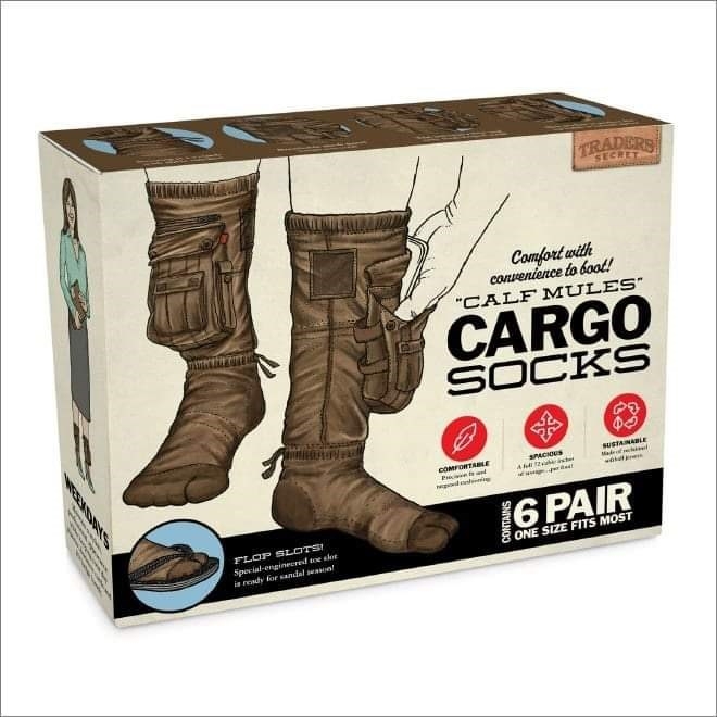 """Footwear - TRADERS SECRET Comfort with convenience to boot! """"CALF MULES"""" CARGO SOCKS SUSTANALE COMORTLE SPACKNS aa ক 6 PAIR FLOP SLOTS! Special-enginered twe shet i rendy for sandal sean ONE SIZE FITS MOST WEEKDAN"""