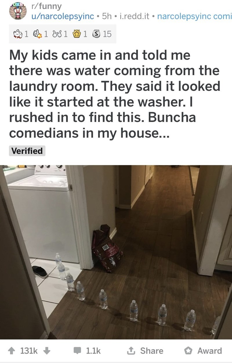 Text - r/funny u/narcolepsyinc • 5h • i.redd.it • narcolepsyinc comi 1 1 W1 O1 3 15 My kids came in and told me there was water coming from the laundry room. They said it looked like it started at the washer. I rushed in to find this. Buncha comedians in my house... Verified 1 Share 1.1k O Award 131k
