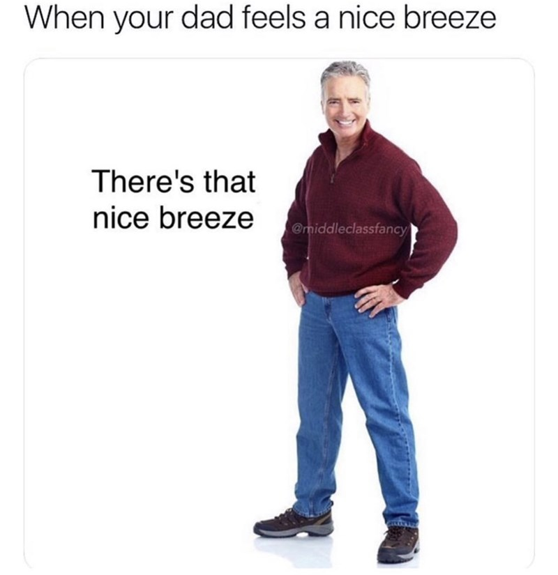 Text - When your dad feels a nice breeze There's that nice breeze @middleclassfancy