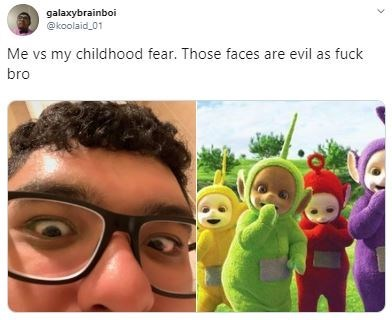 Animated cartoon - galaxybrainboi @koolaid_01 Me vs my childhood fear. Those faces are evil as fuck bro