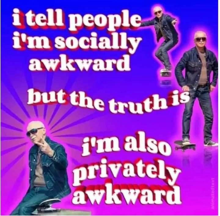 Text - i tell people i'm socially awkward but the truth is i'm also privately awkward animatedtext