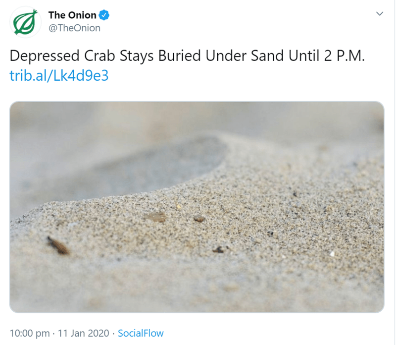 Sand - The Onion @TheOnion Depressed Crab Stays Buried Under Sand Until 2 P.M. trib.al/Lk4d9e3 10:00 pm · 11 Jan 2020 · SocialFlow