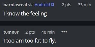 Text - narniasreal via Android O 2 pts 33 min I know the feeling tomnår 2 pts 48 min I too am too fat to fly.