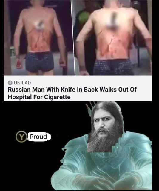 Barechested - O UNILAD Russian Man With Knife In Back Walks Out Of Hospital For Cigarette Y Proud