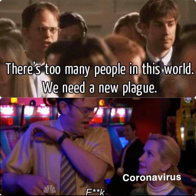 Photo caption - There's too many people in this world. We need a new plague. Coronavirus F**k