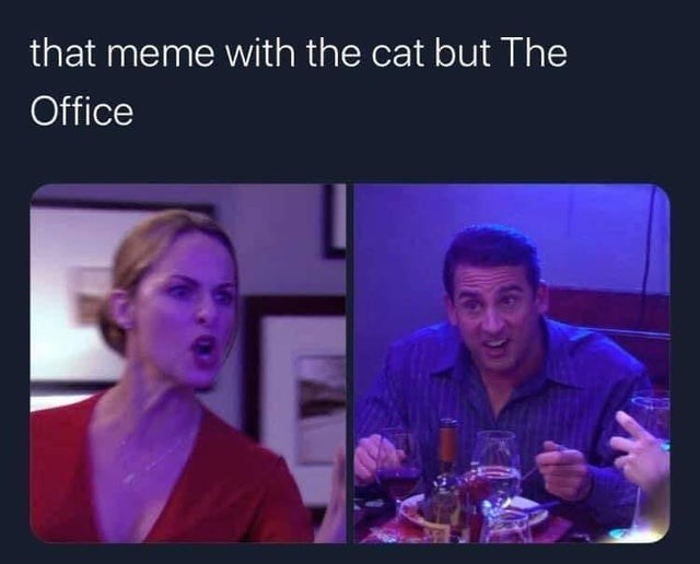 Face - that meme with the cat but The Office