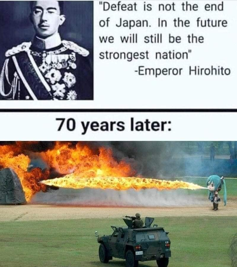 "Vehicle - ""Defeat is not the end of Japan. In the future we will still be the strongest nation"" -Emperor Hirohito 70 years later: ET"